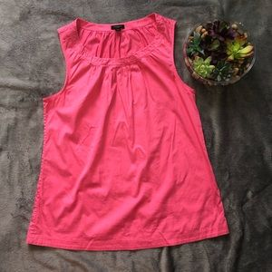 Anne Taylor pink pleated tank top size L